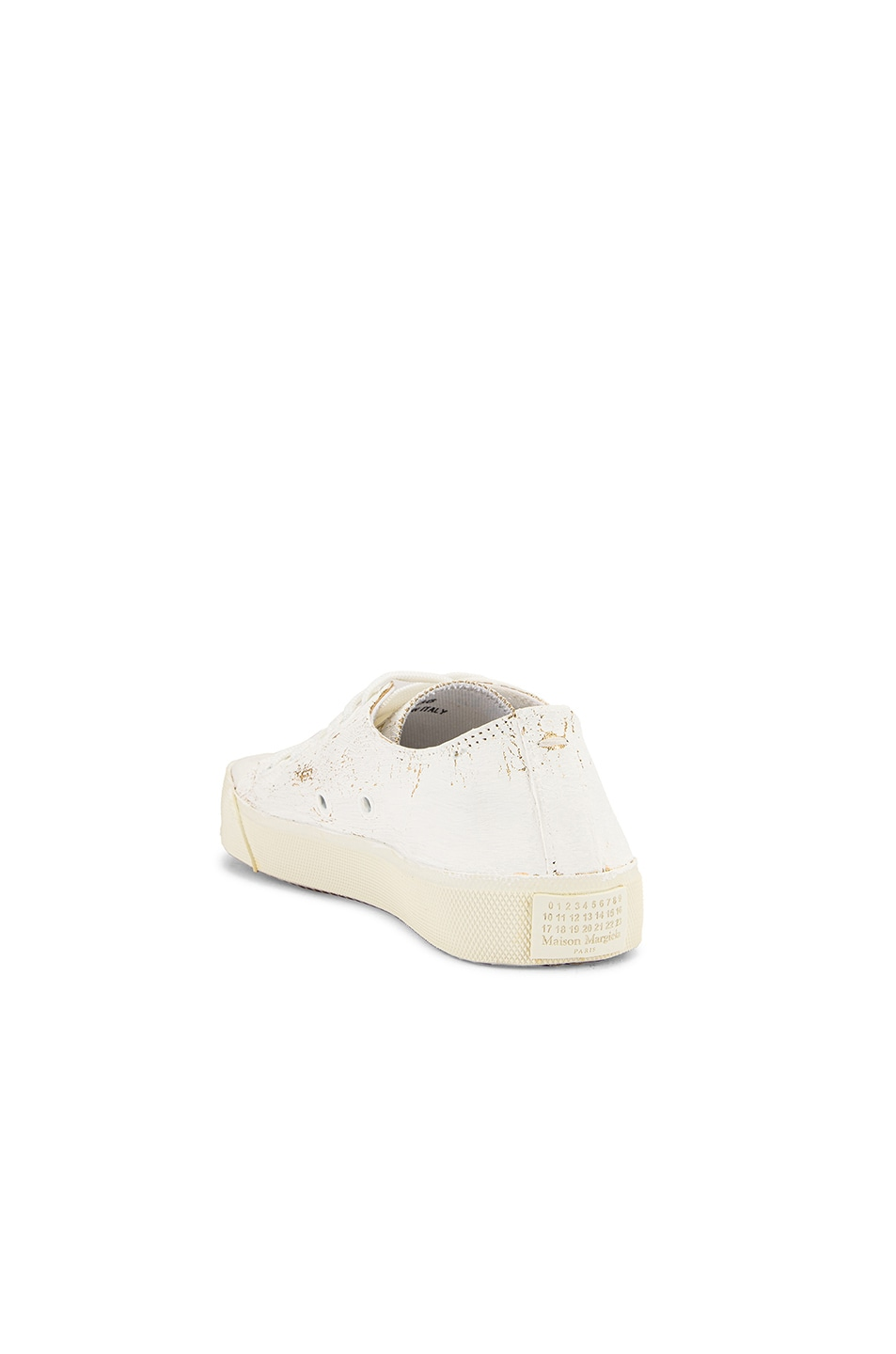 Image 4 of Maison Margiela Low Top Tabi Sneakers in White & Gold