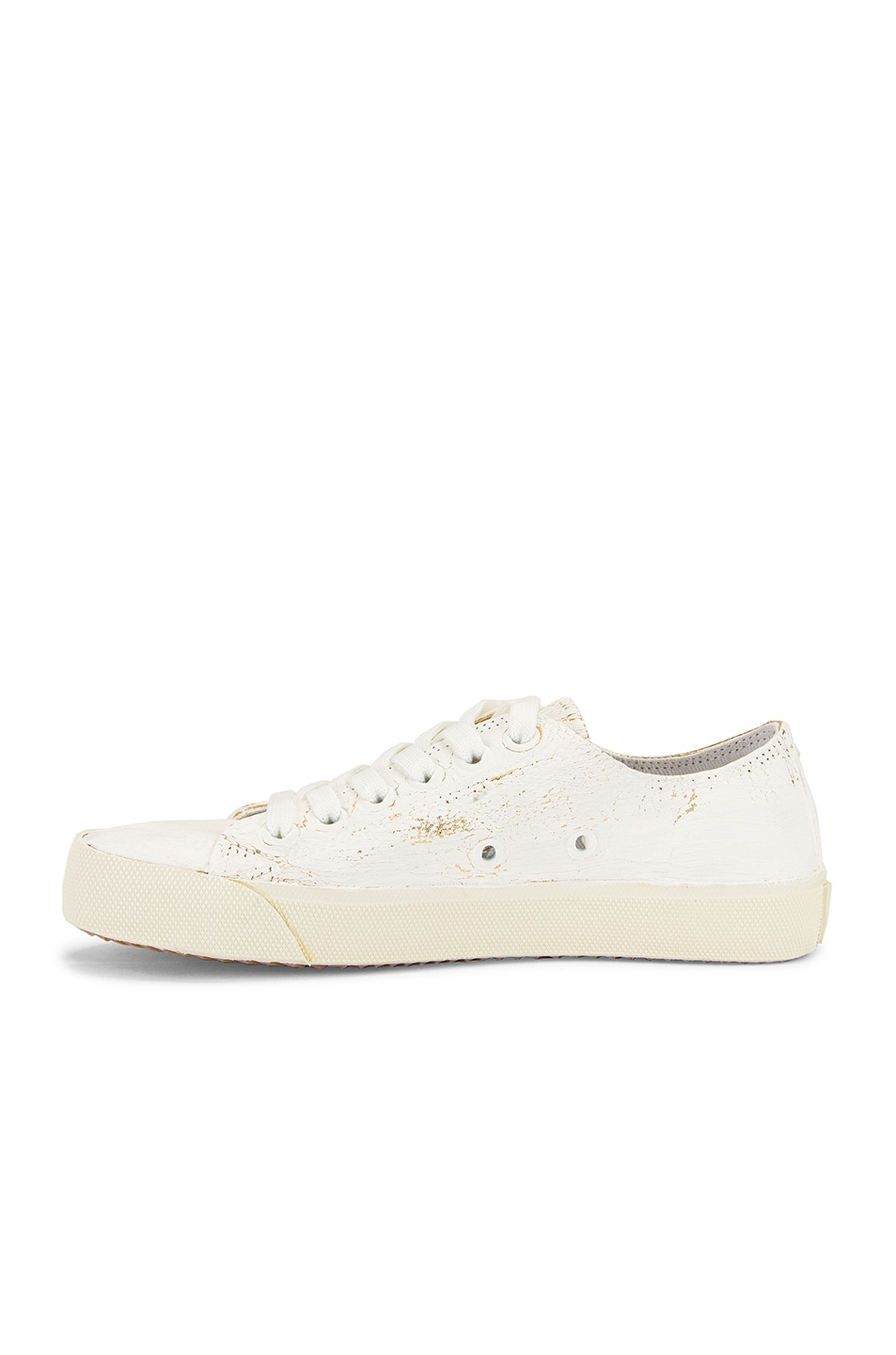Image 5 of Maison Margiela Low Top Tabi Sneakers in White & Gold