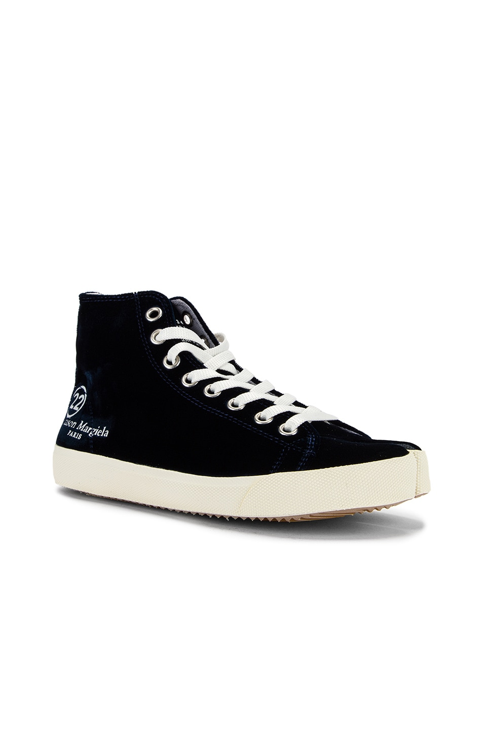 Image 3 of Maison Margiela Toe High Top Sneakers in Navy Blue