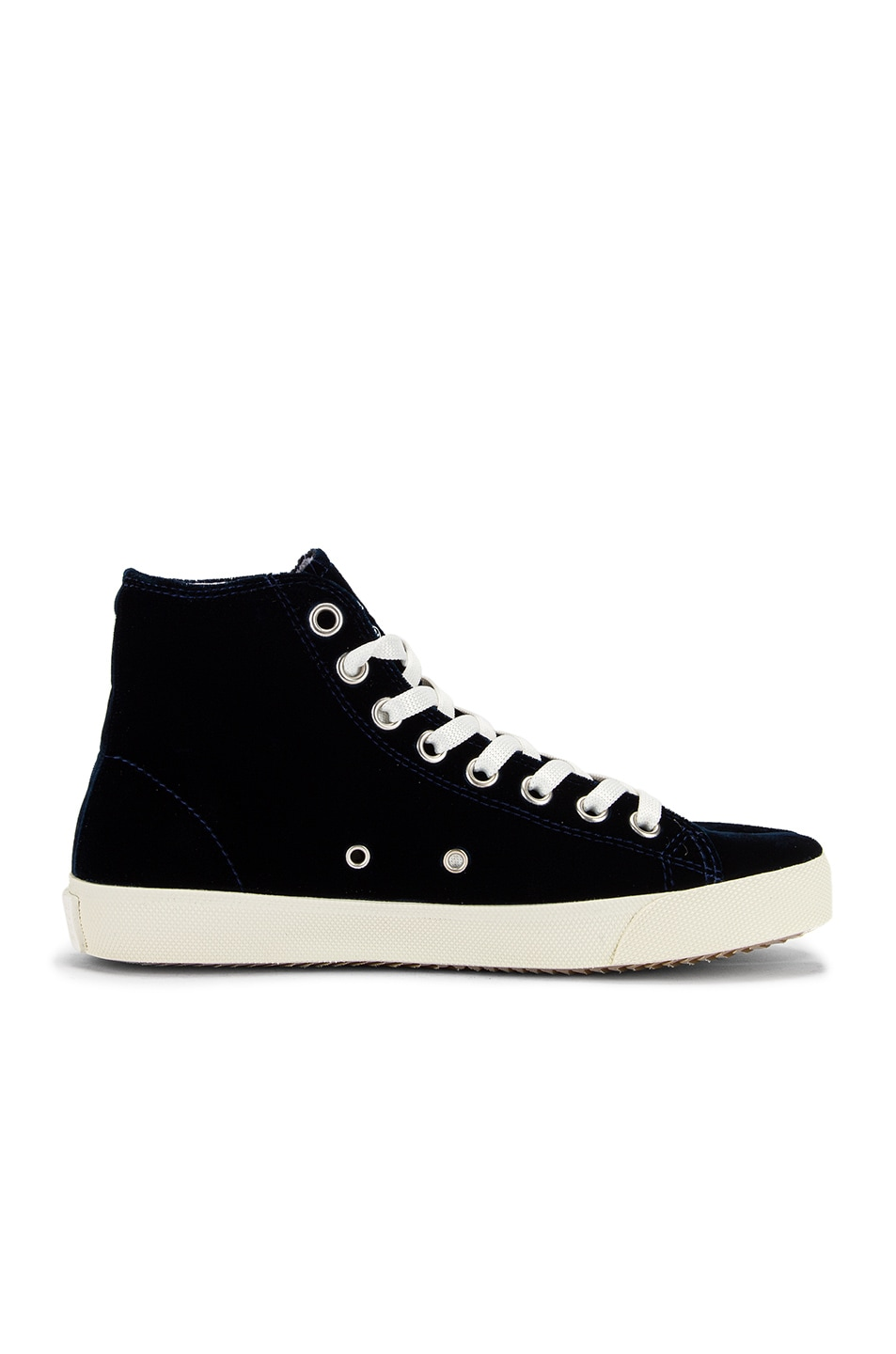 Image 7 of Maison Margiela Toe High Top Sneakers in Navy Blue
