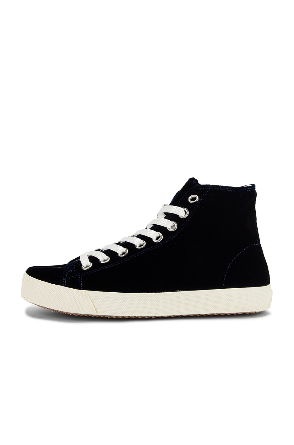 Image 8 of Maison Margiela Toe High Top Sneakers in Navy Blue