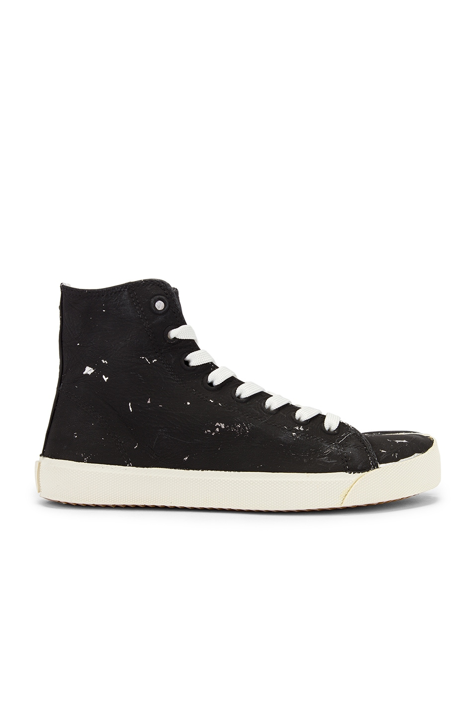 Image 2 of Maison Margiela High Top Tabi Sneakers in Black & Silver