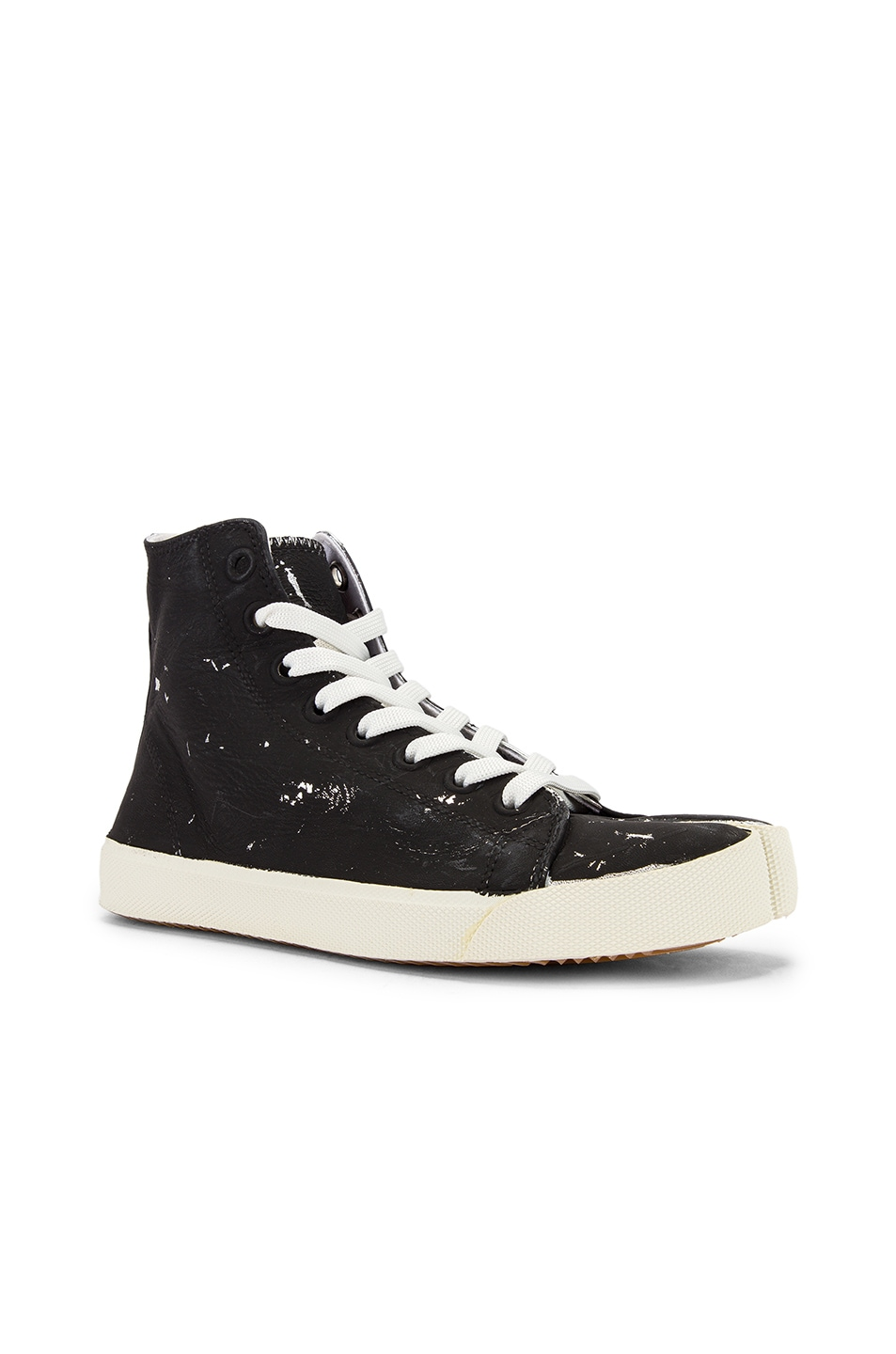 Image 3 of Maison Margiela High Top Tabi Sneakers in Black & Silver