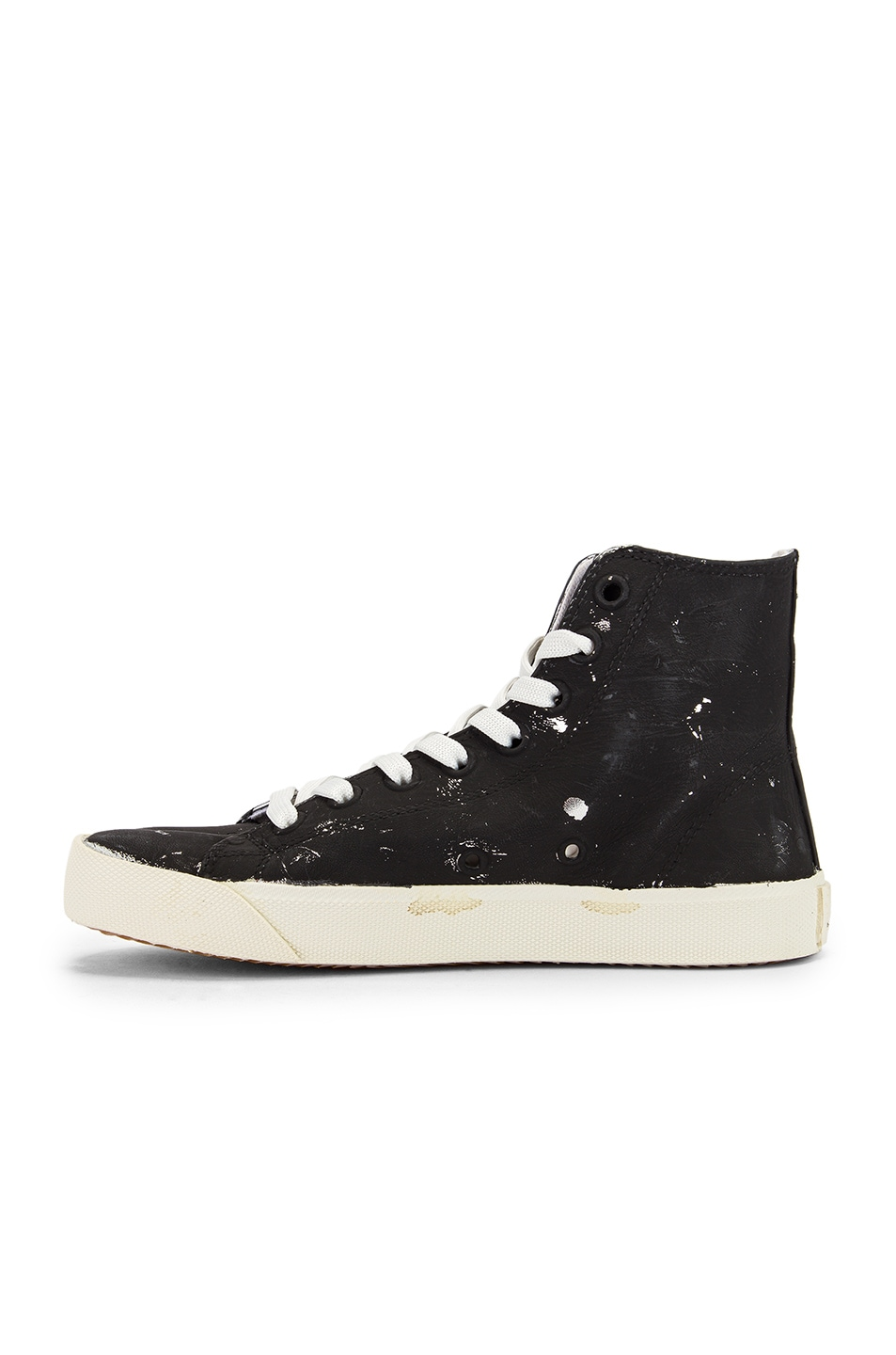 Image 5 of Maison Margiela High Top Tabi Sneakers in Black & Silver