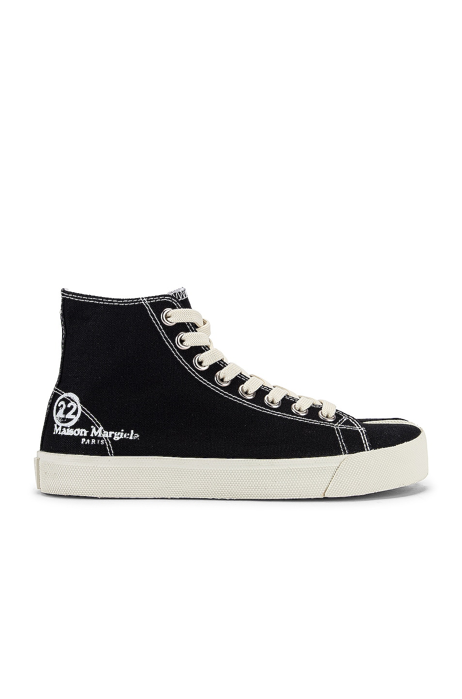 Image 2 of Maison Margiela Tabi High Top Canvas Sneakers in Black
