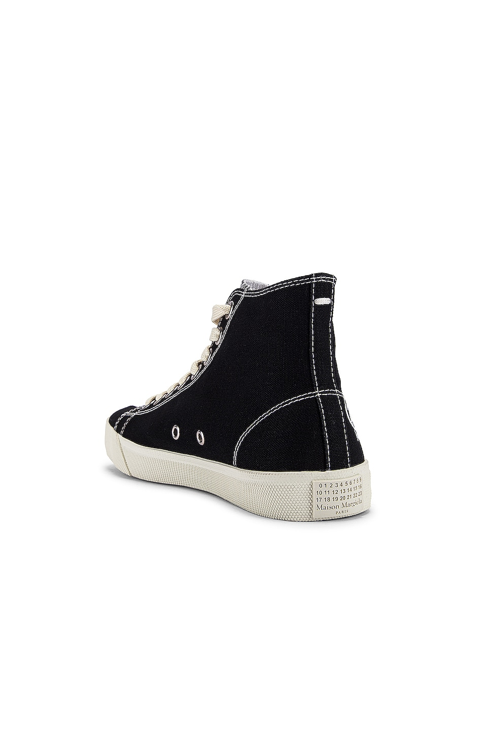 Image 4 of Maison Margiela Tabi High Top Canvas Sneakers in Black