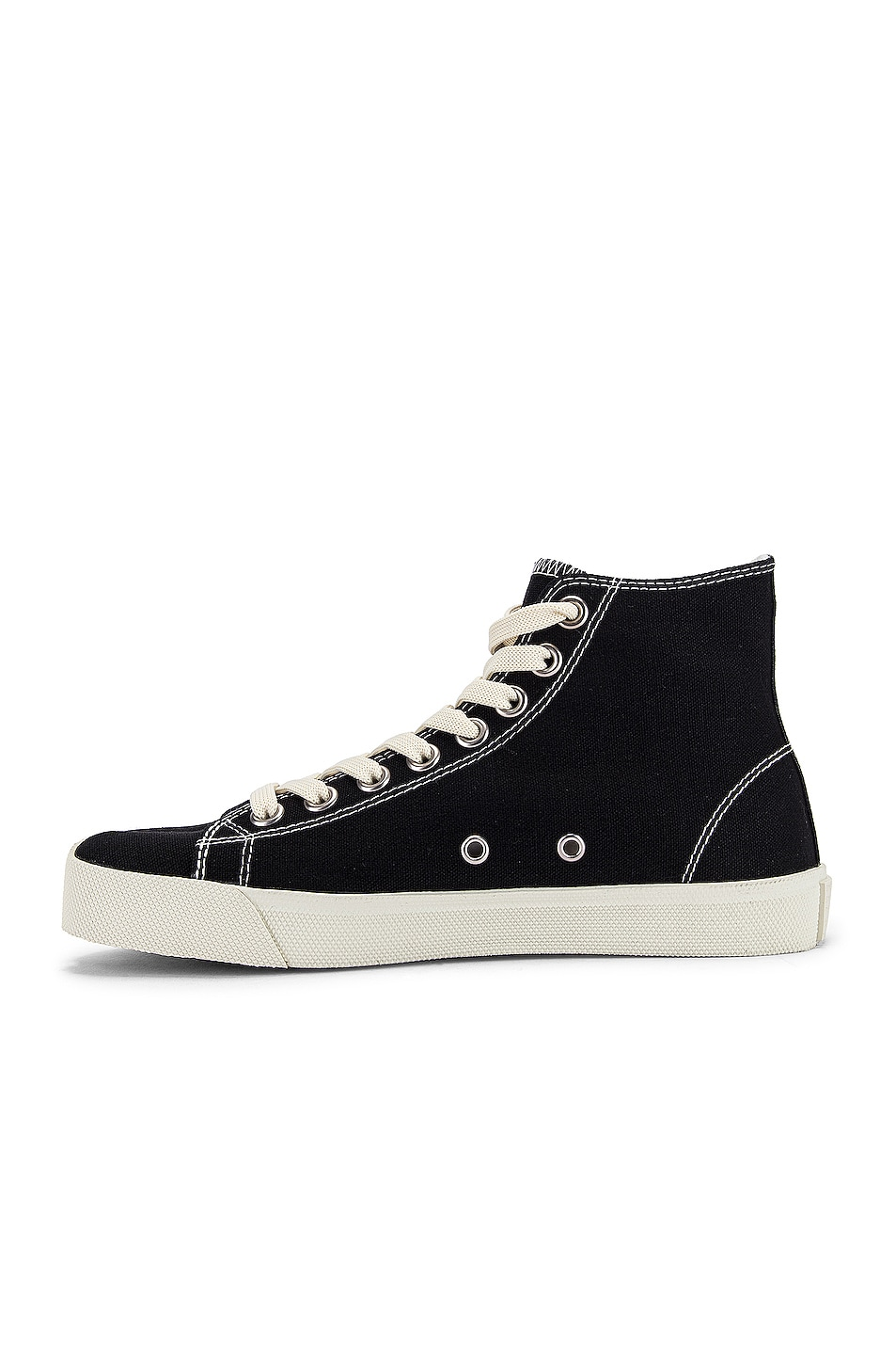 Image 5 of Maison Margiela Tabi High Top Canvas Sneakers in Black