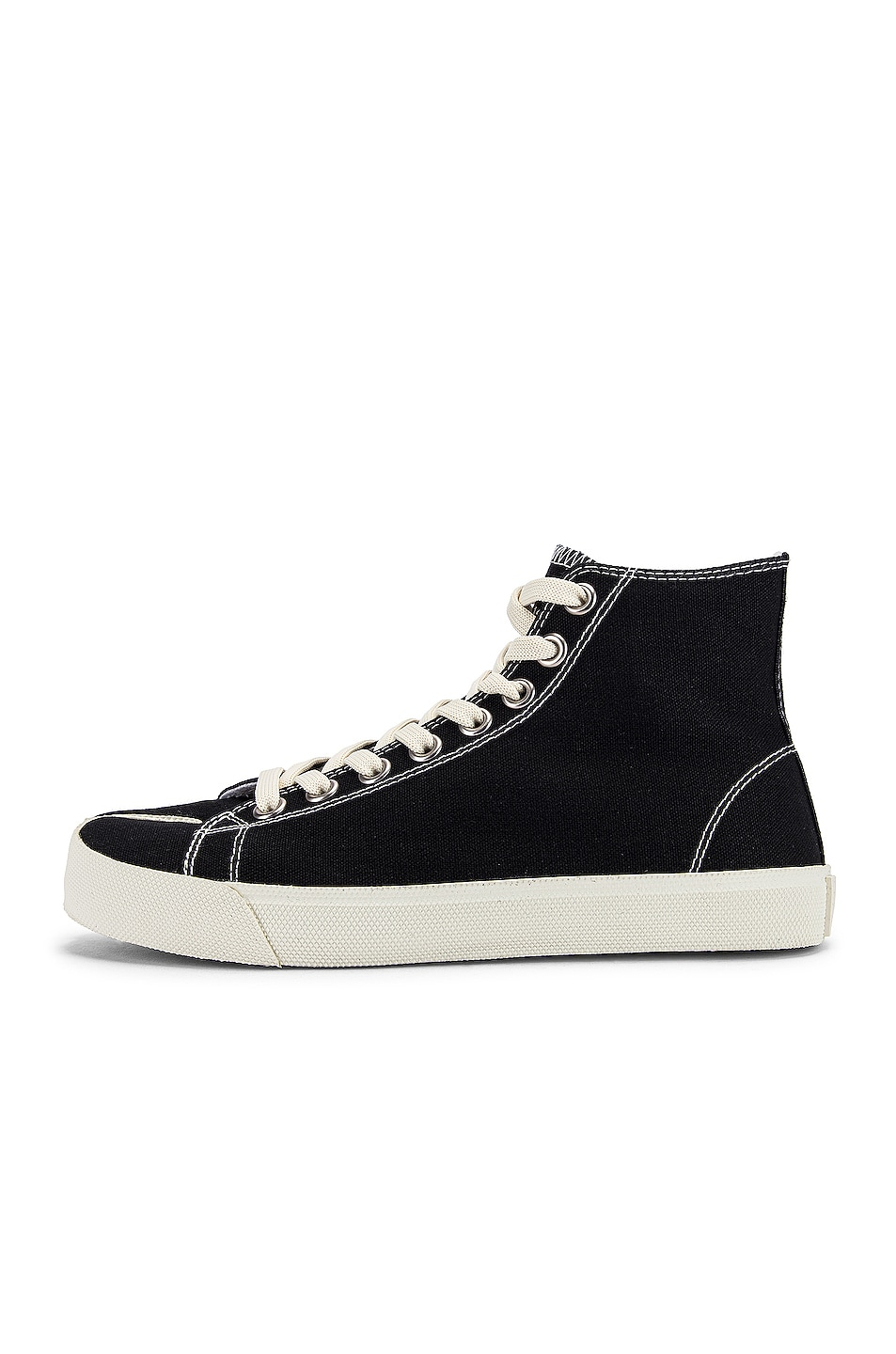 Image 8 of Maison Margiela Tabi High Top Canvas Sneakers in Black