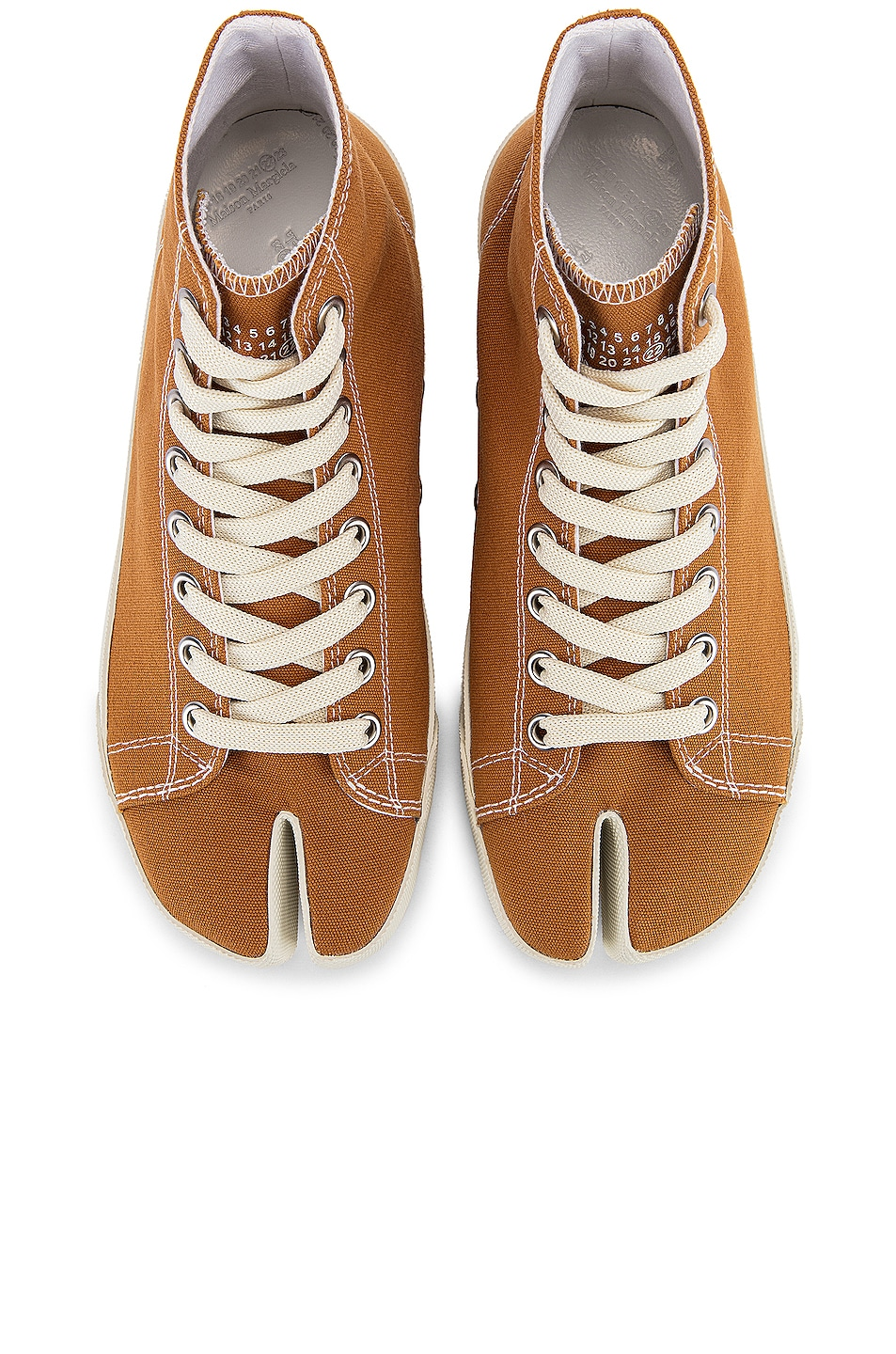 Image 1 of Maison Margiela Tabi High Top Canvas Sneakers in Nude