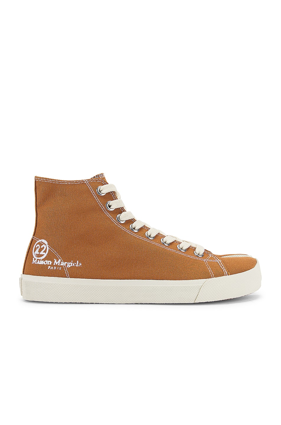 Image 2 of Maison Margiela Tabi High Top Canvas Sneakers in Nude