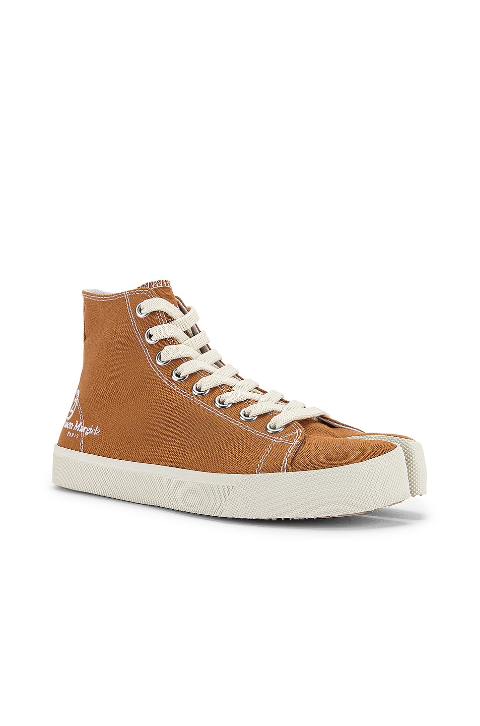 Image 3 of Maison Margiela Tabi High Top Canvas Sneakers in Nude