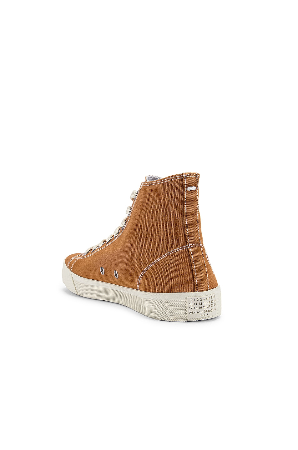 Image 4 of Maison Margiela Tabi High Top Canvas Sneakers in Nude