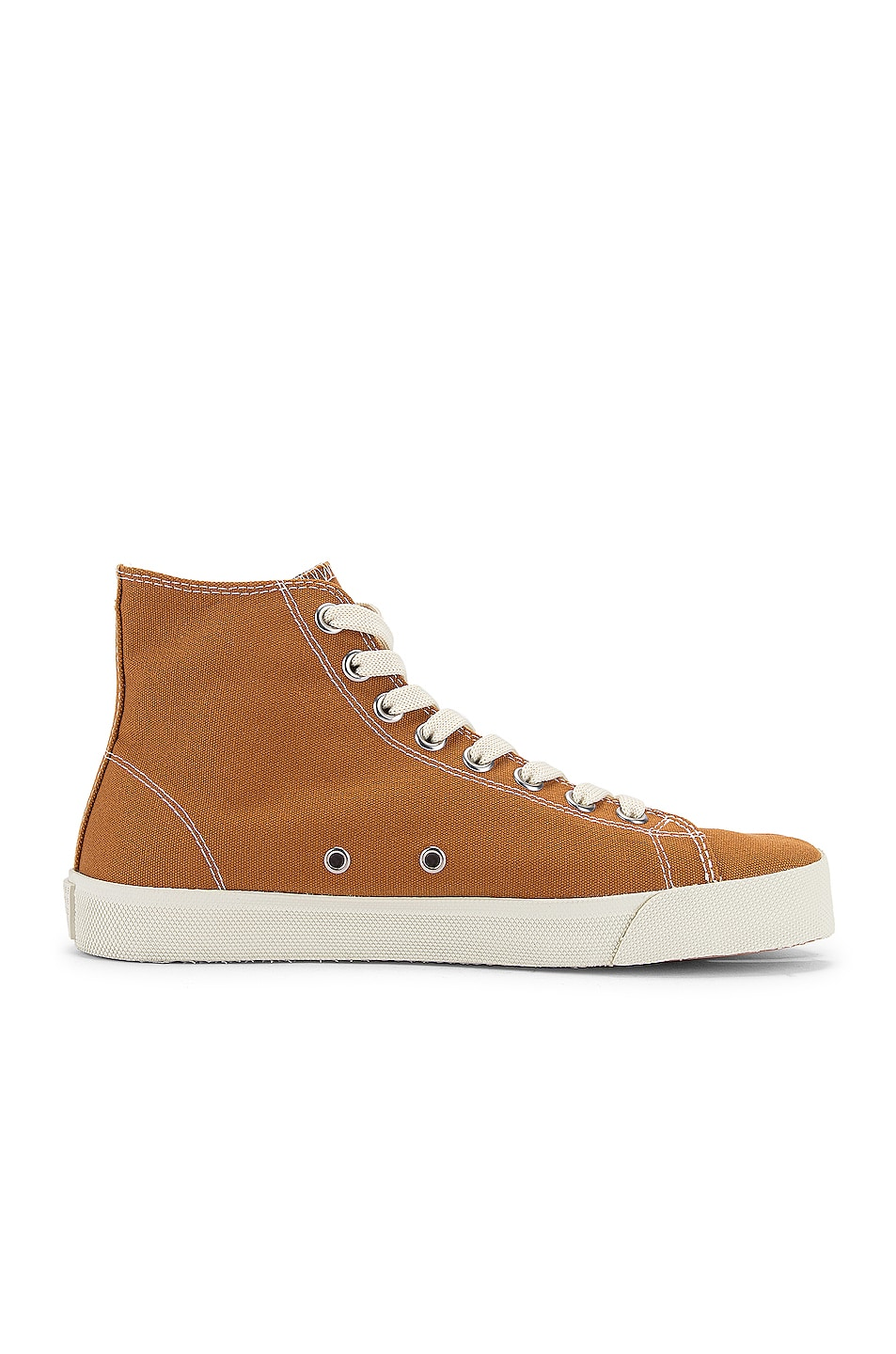 Image 7 of Maison Margiela Tabi High Top Canvas Sneakers in Nude
