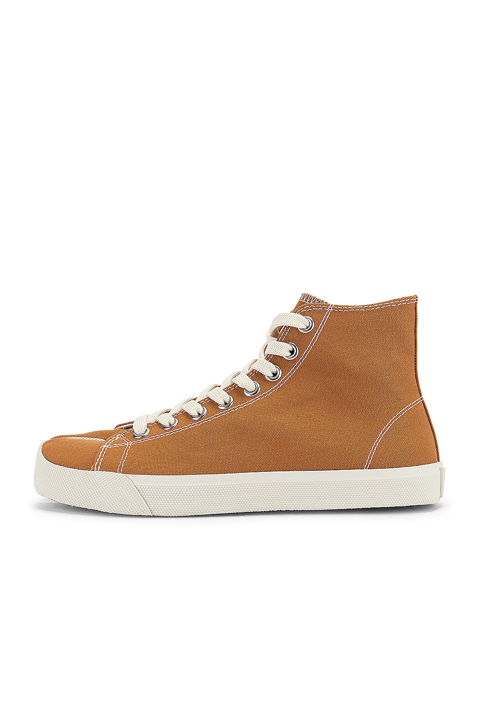 Image 8 of Maison Margiela Tabi High Top Canvas Sneakers in Nude