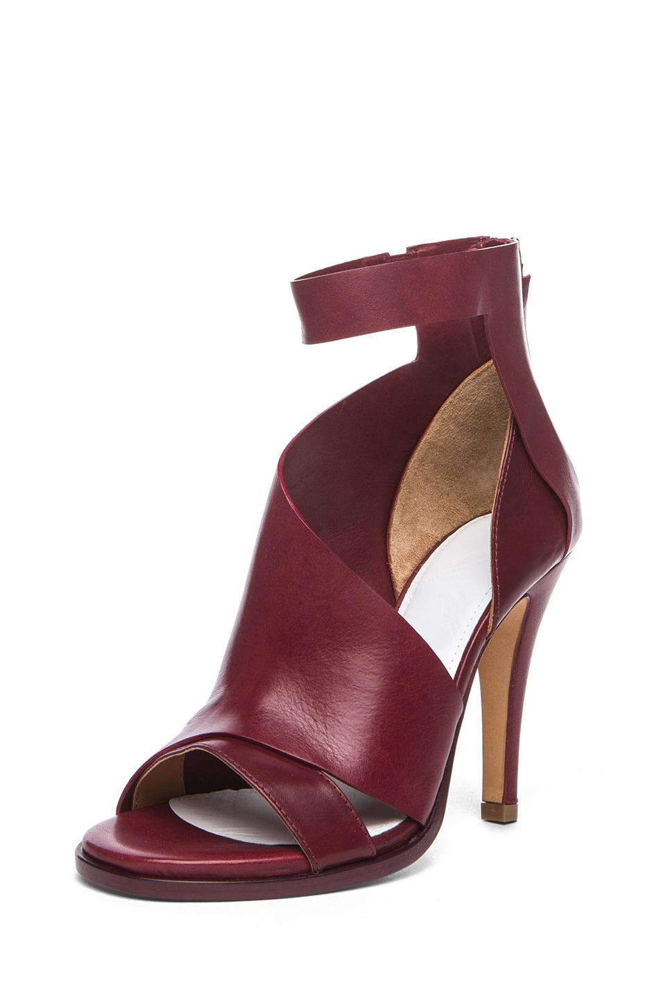 Image 2 of Maison Margiela Double Montage Leather Heels in Red