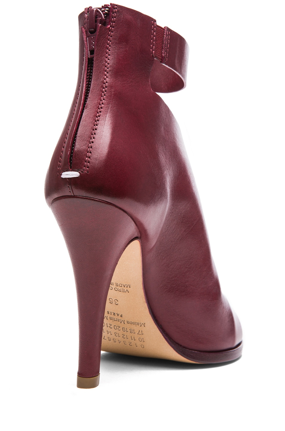Image 3 of Maison Margiela Double Montage Leather Heels in Red