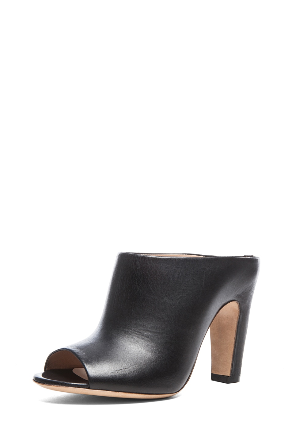 Image 2 of Maison Margiela Open Toe Leather Mules in Black