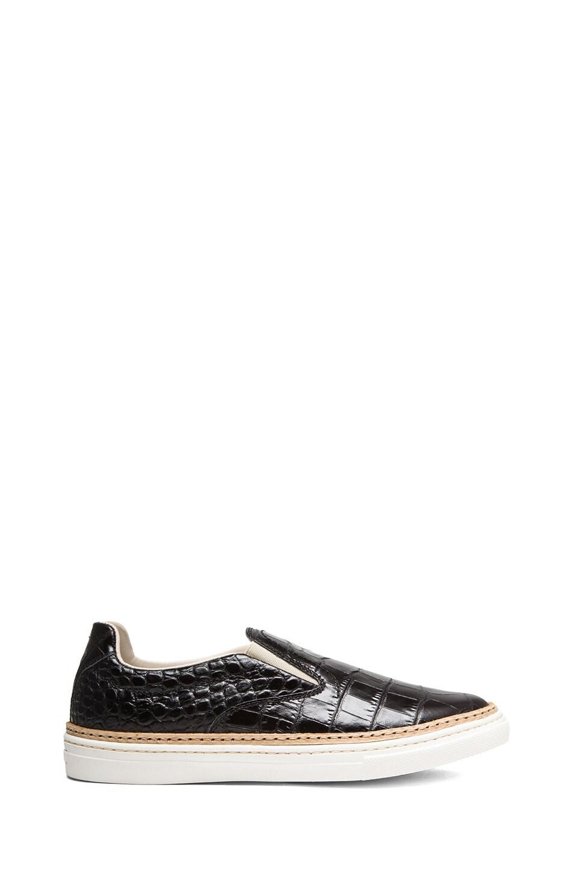 Image 1 of Maison Margiela Ryder Crocodile Print Leather Slip Ons in Black