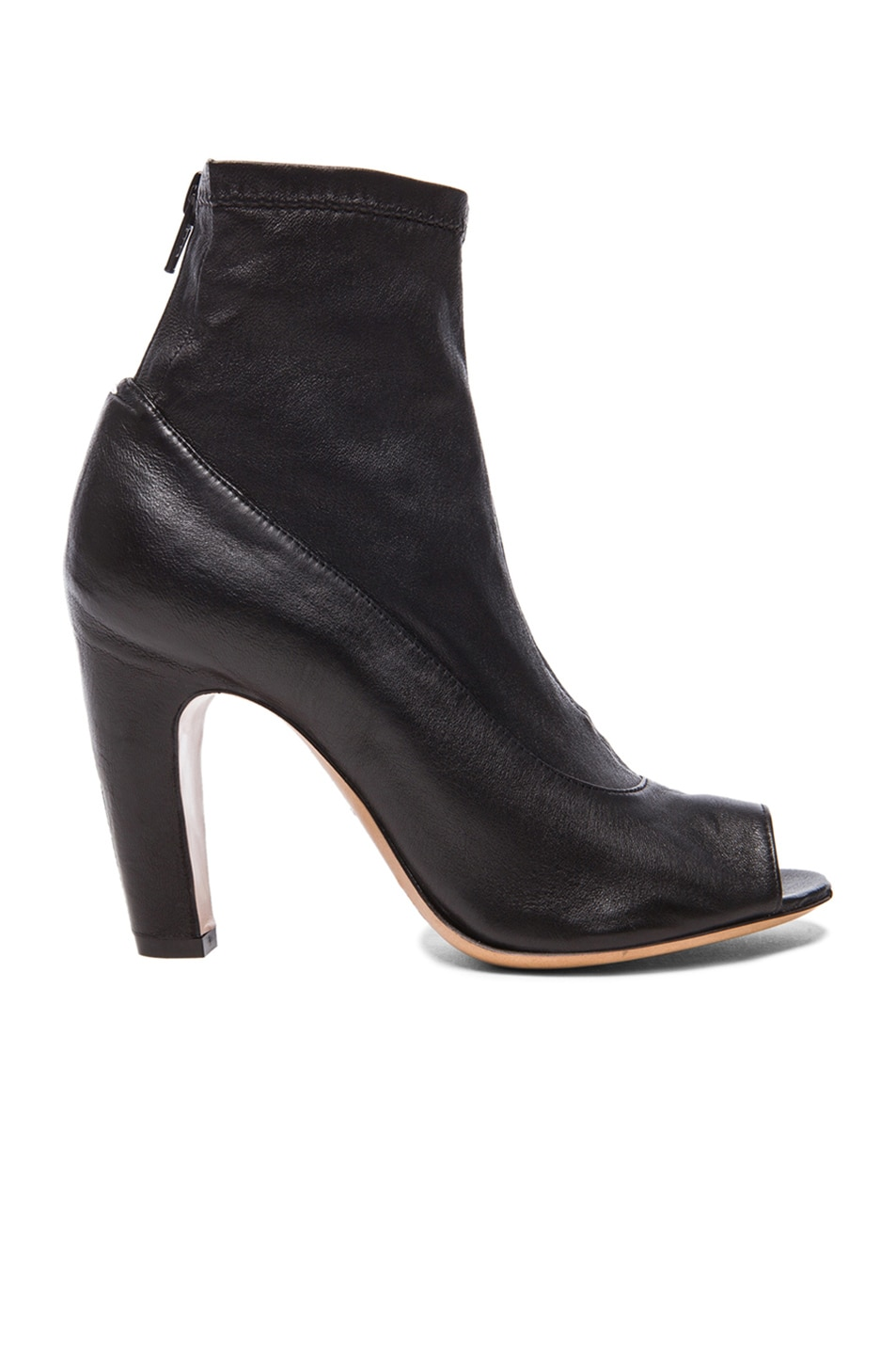 Image 1 of Maison Margiela Stretch Leather Open Toe Booties in Black