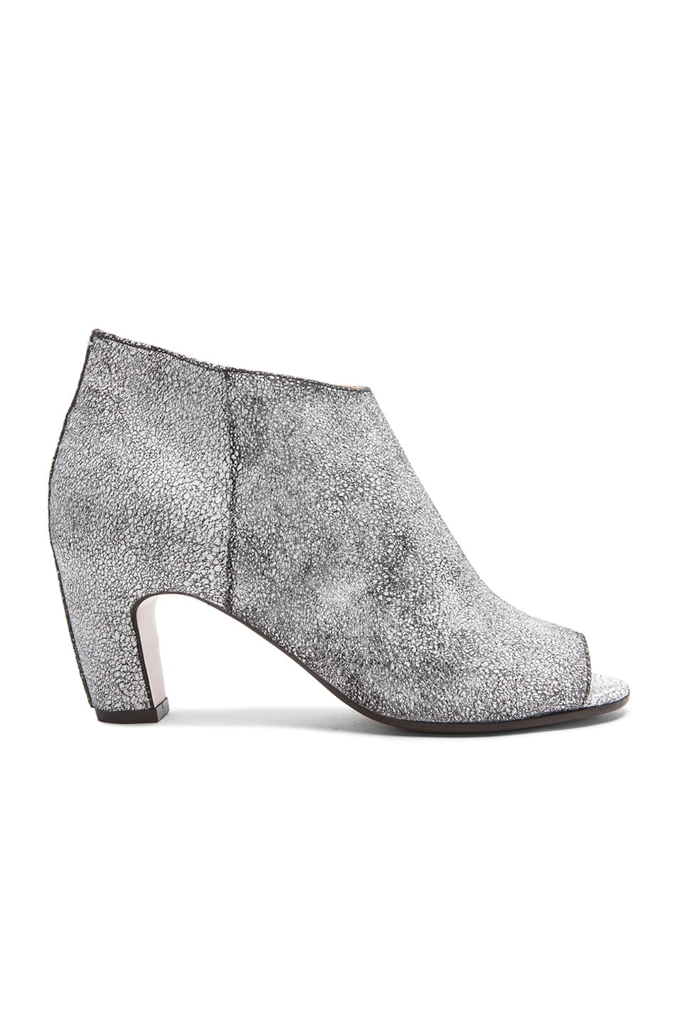 Image 1 of Maison Margiela Crackle Leather Booties in Optic Black & White