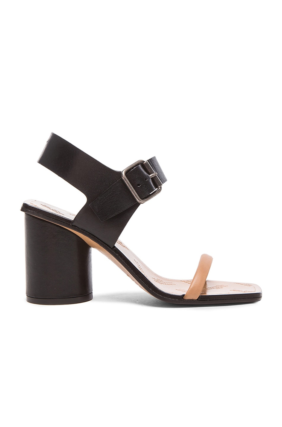 Image 1 of Maison Margiela Strap Leather Sandals in Black & Flesh