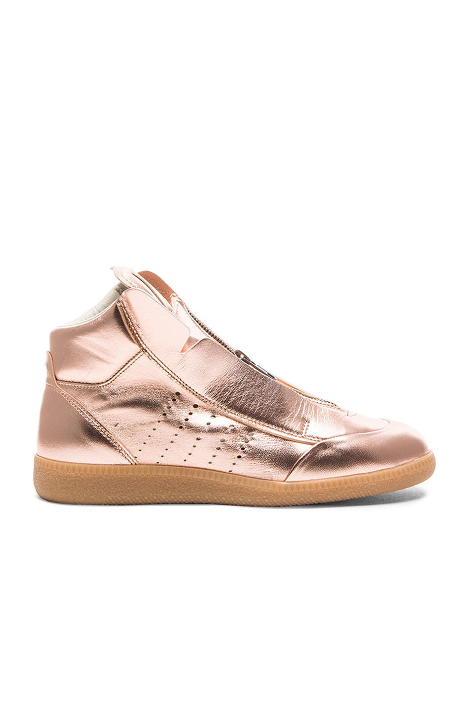 Image 1 of Maison Margiela Laminated Leather Circuit Sneakers in Copper