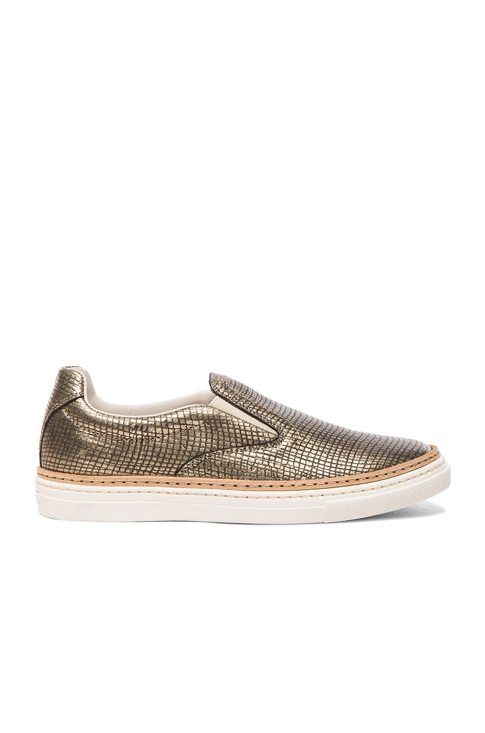 Image 1 of Maison Margiela Embossed Leather Slip-On Sneakers in Gold