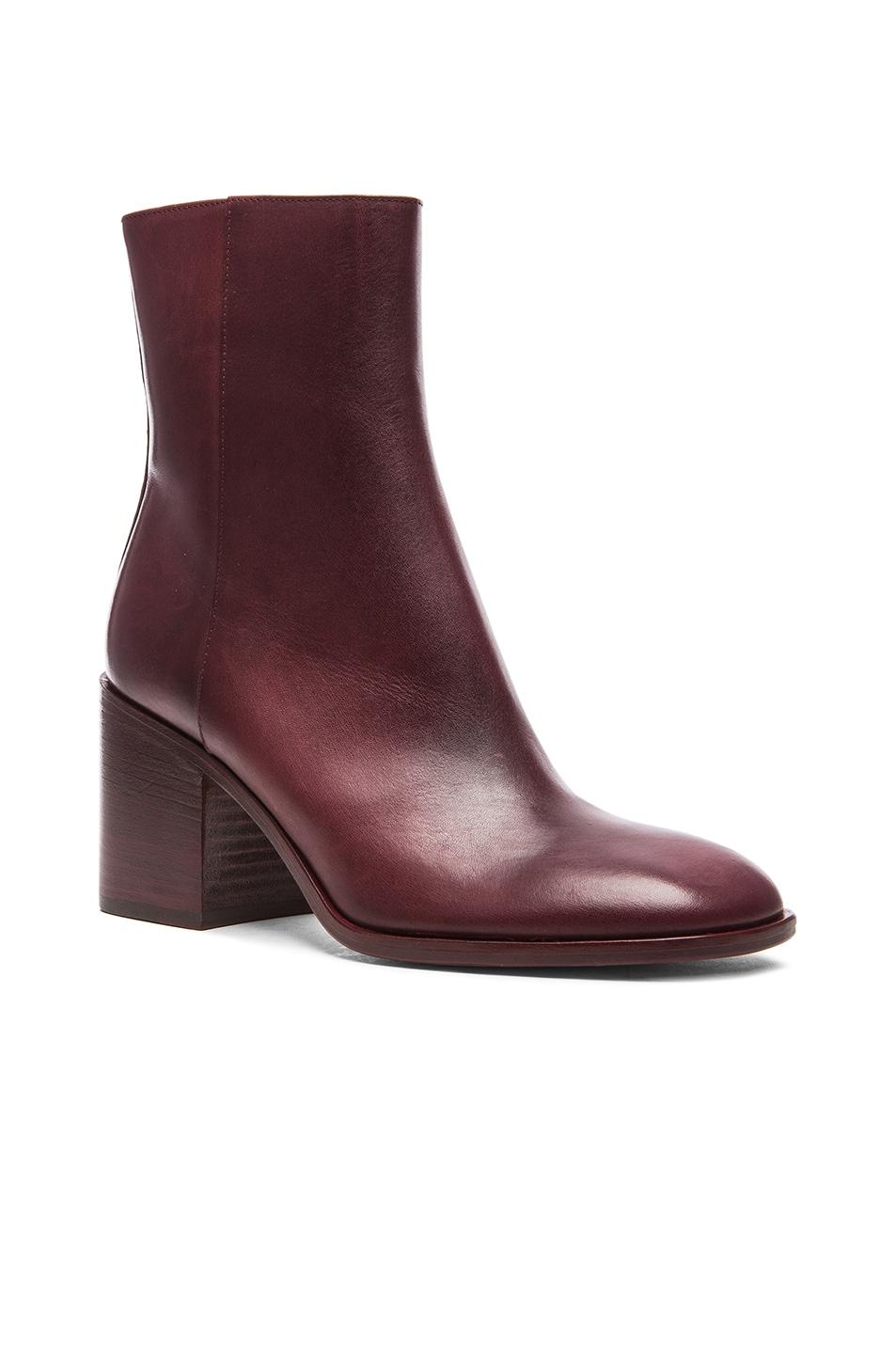 Image 2 of Maison Margiela Waxed Leather Booties in Bordeaux