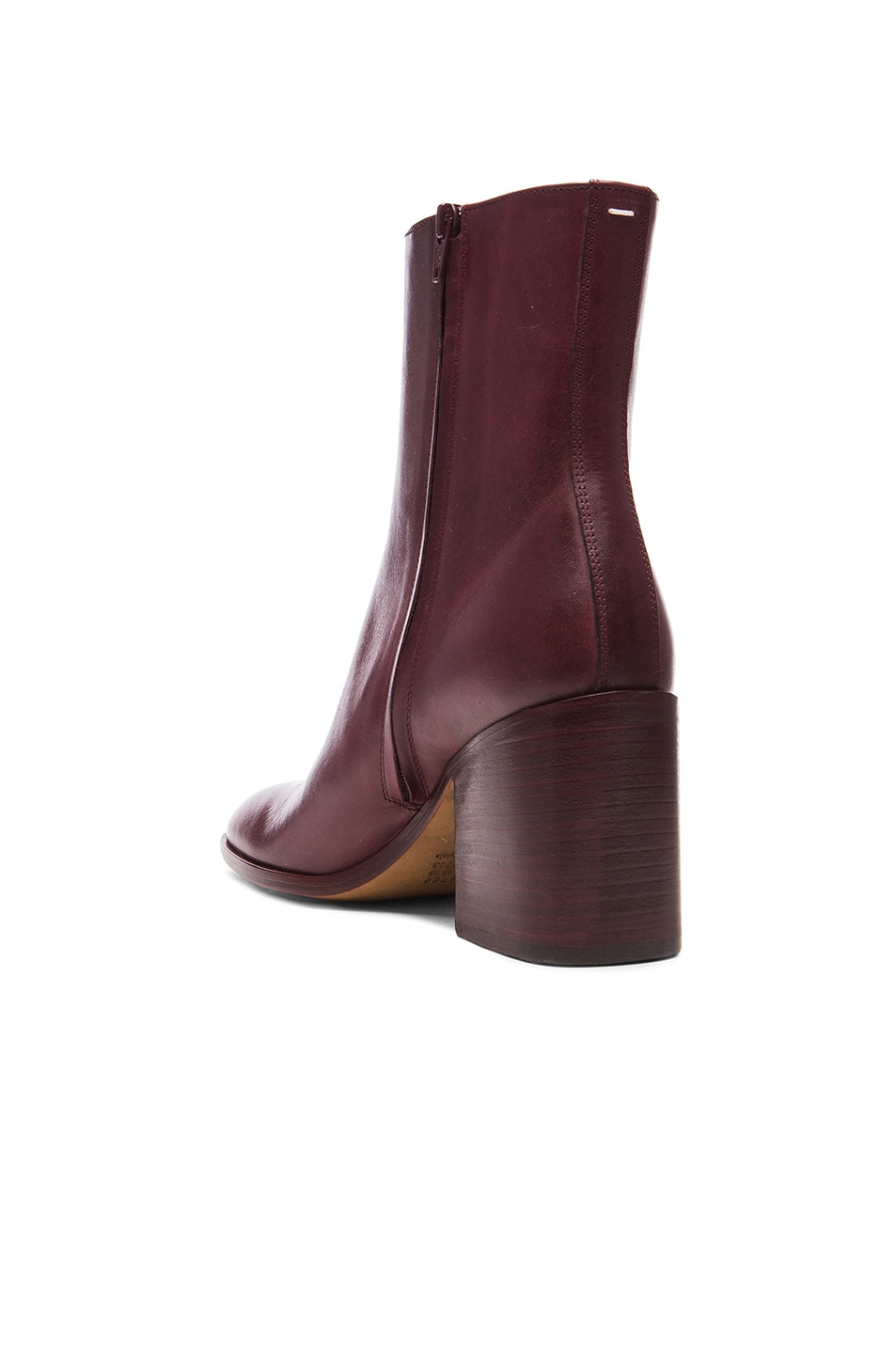 Image 3 of Maison Margiela Waxed Leather Booties in Bordeaux