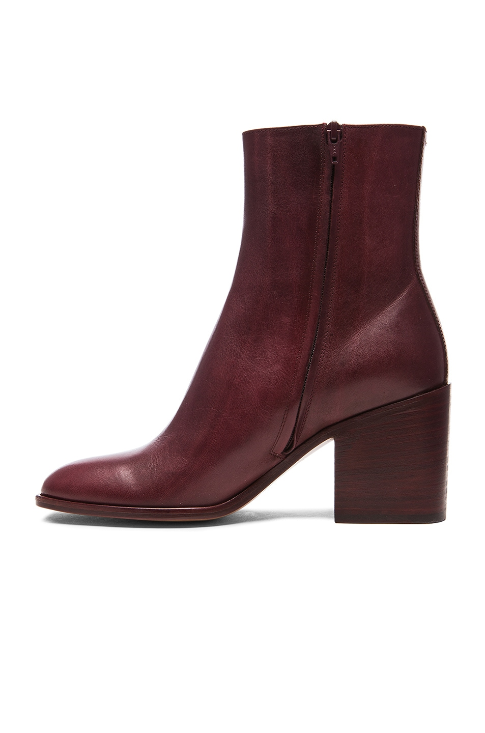 Image 5 of Maison Margiela Waxed Leather Booties in Bordeaux