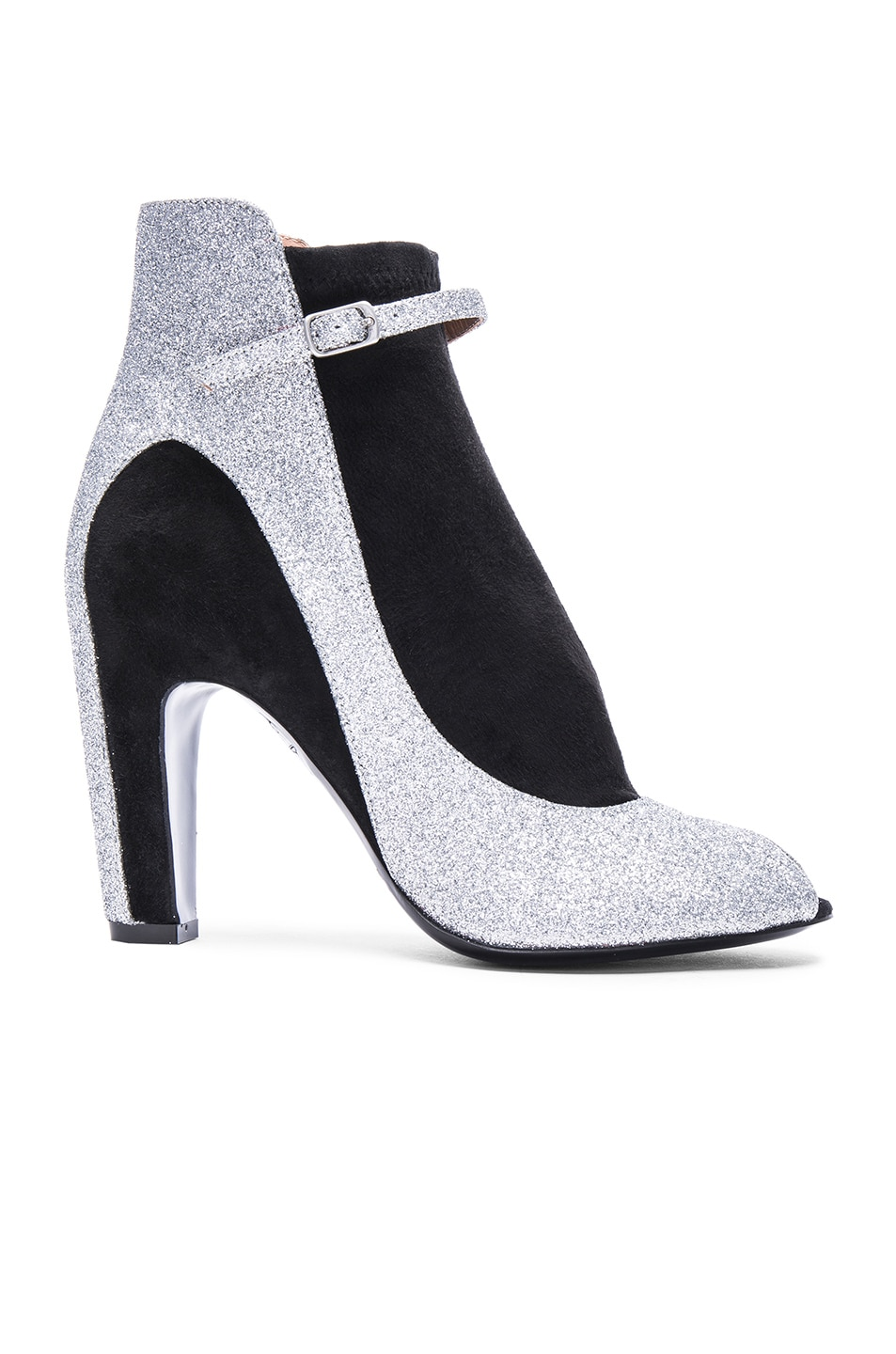 Image 1 of Maison Margiela Glitter Ankle Strap Booties in Black & Silver
