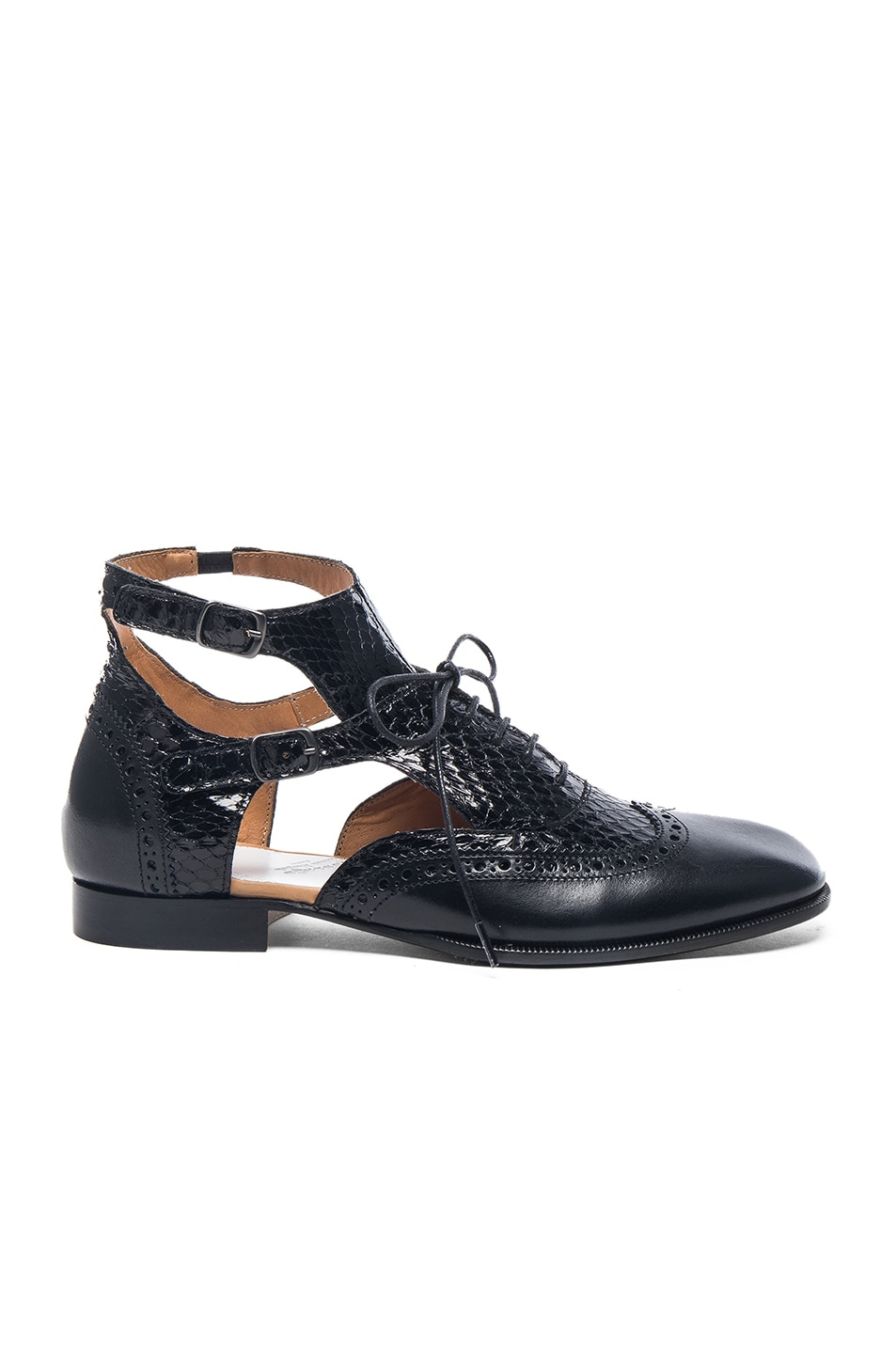 Image 1 of Maison Margiela Cut Out Leather & Python Oxfords in Black