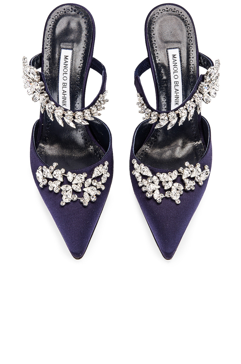 Image 1 of Manolo Blahnik Lurum 90 Mule in Navy Satin
