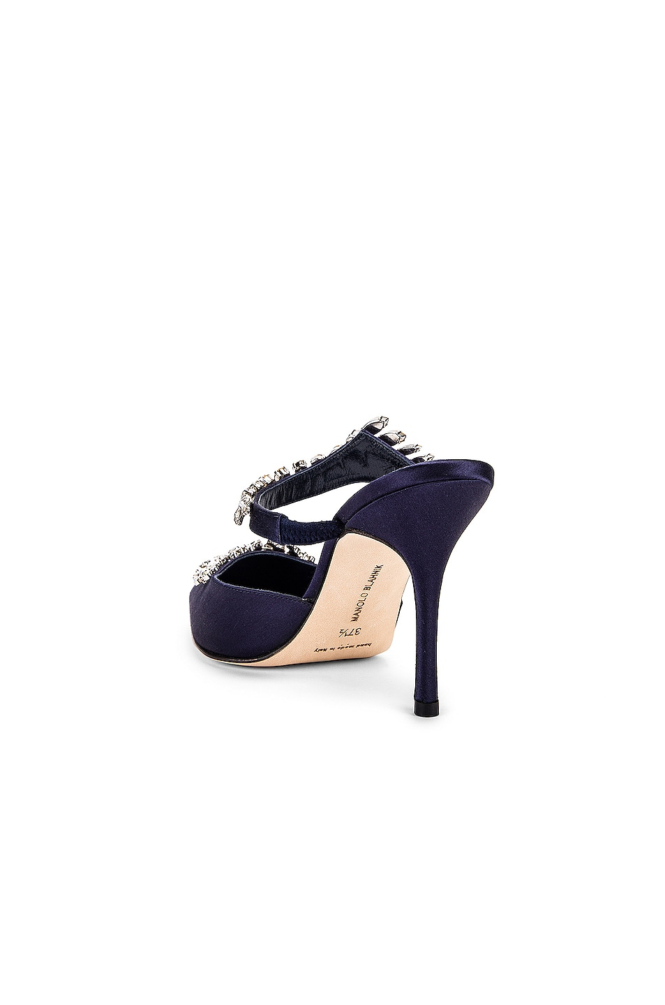 Image 4 of Manolo Blahnik Lurum 90 Mule in Navy Satin