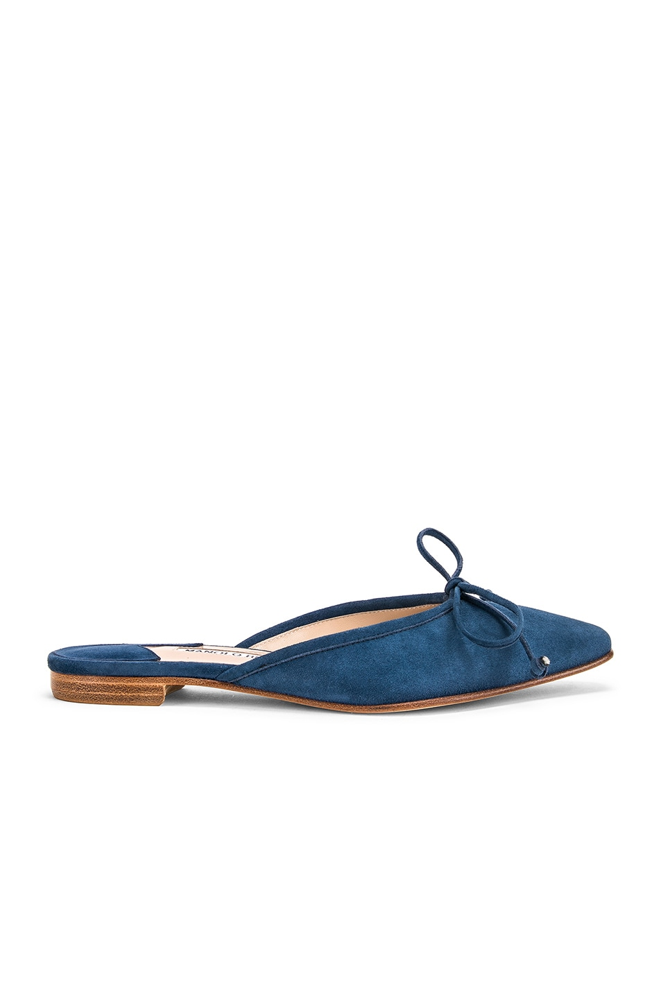 Image 1 of Manolo Blahnik Ballerimu Slide in Blue Suede