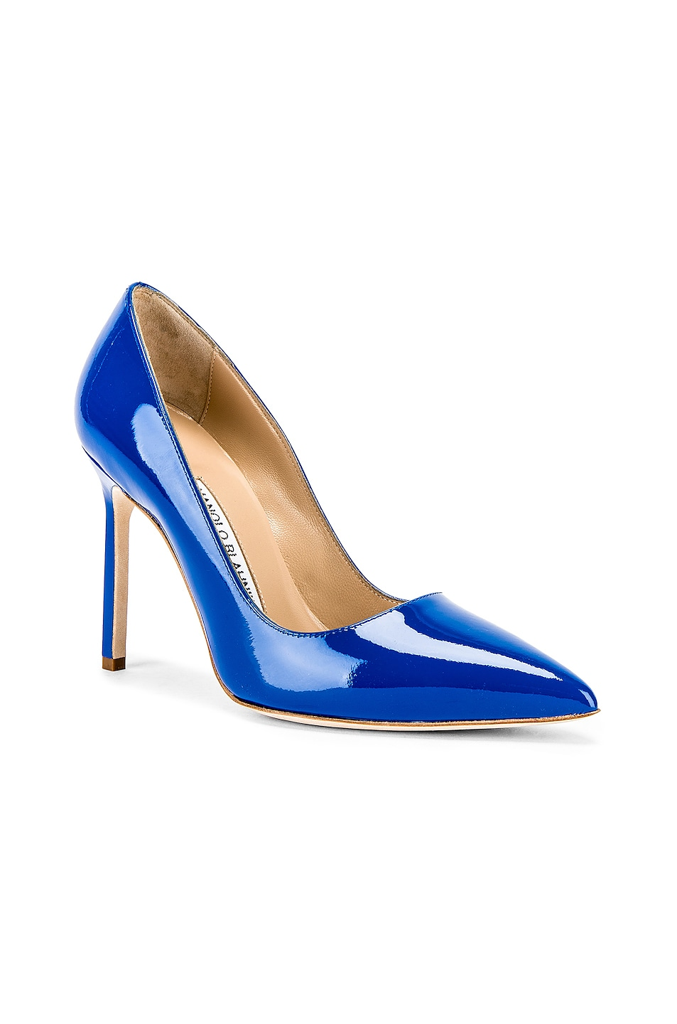 Image 2 of Manolo Blahnik BB Pump in Electric Blue Patent