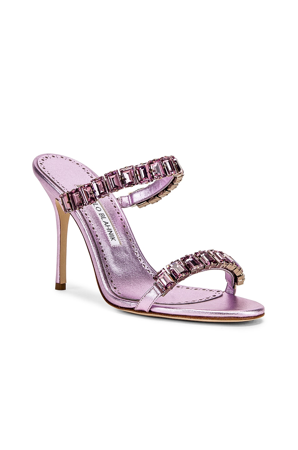 Image 2 of Manolo Blahnik for FWRD Dallitre 105 Sandal in Light Pink Nappa