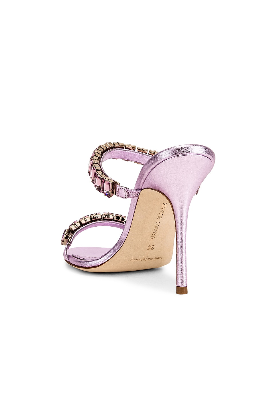 Image 3 of Manolo Blahnik for FWRD Dallitre 105 Sandal in Light Pink Nappa