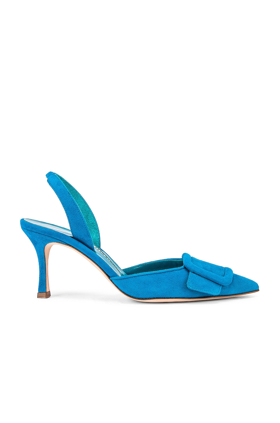 Image 1 of Manolo Blahnik Suede May 70 Slingback in Asiago Turquoise