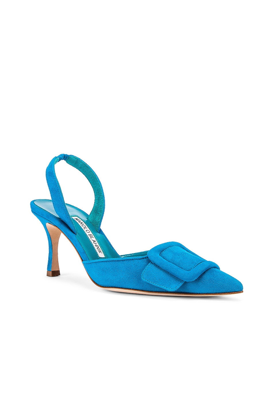 Image 2 of Manolo Blahnik Suede May 70 Slingback in Asiago Turquoise