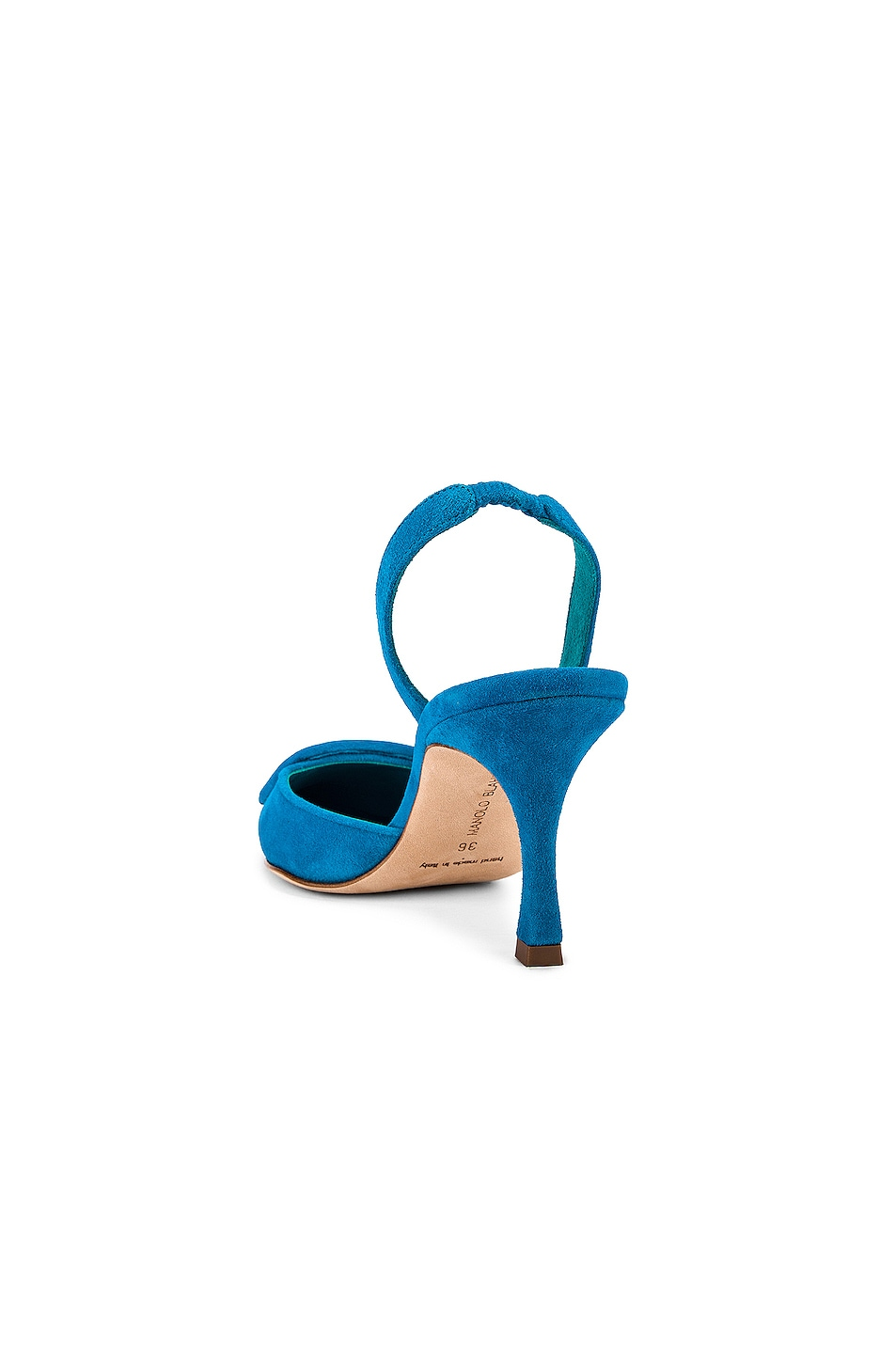 Image 3 of Manolo Blahnik Suede May 70 Slingback in Asiago Turquoise