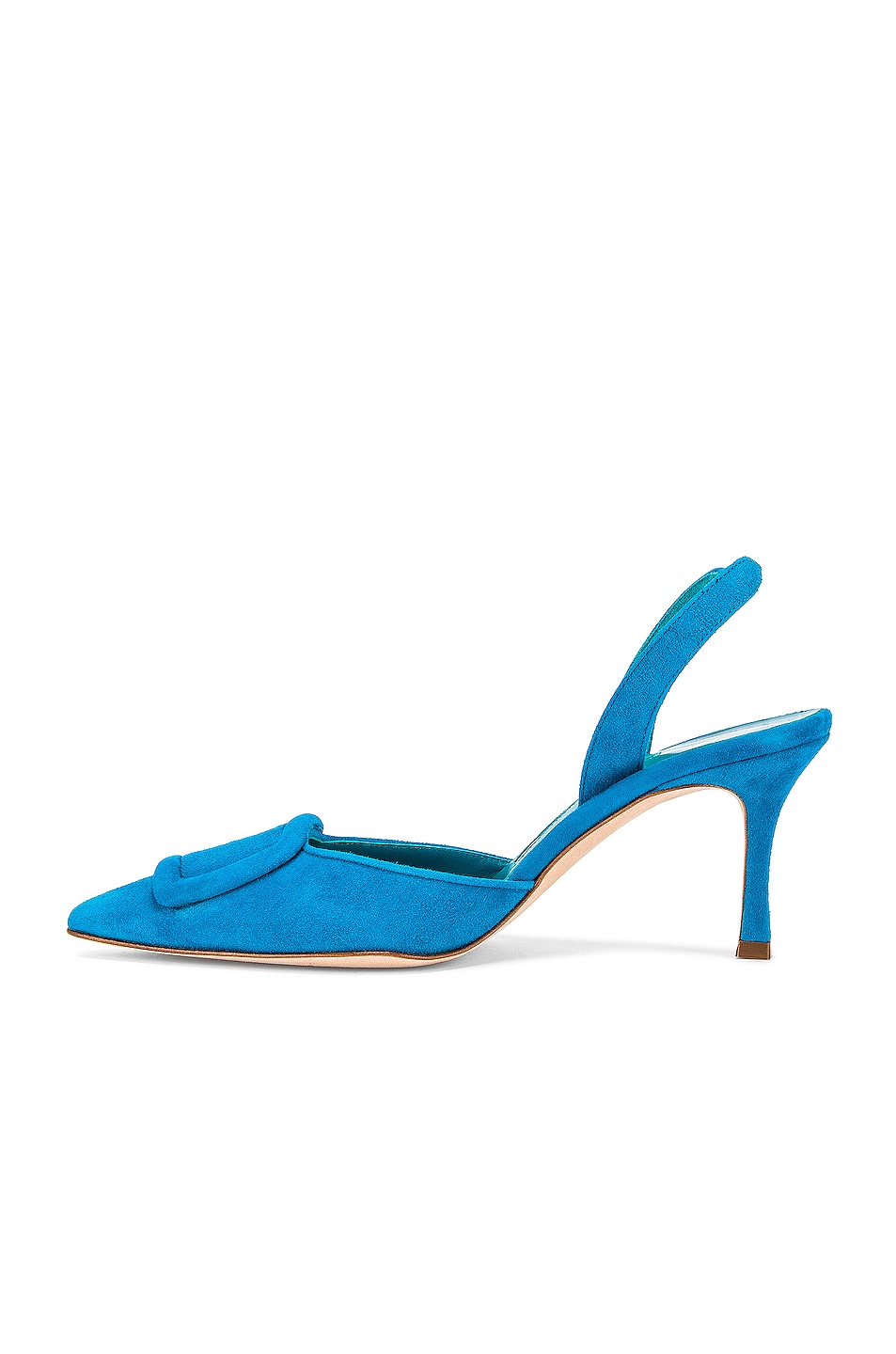 Image 5 of Manolo Blahnik Suede May 70 Slingback in Asiago Turquoise