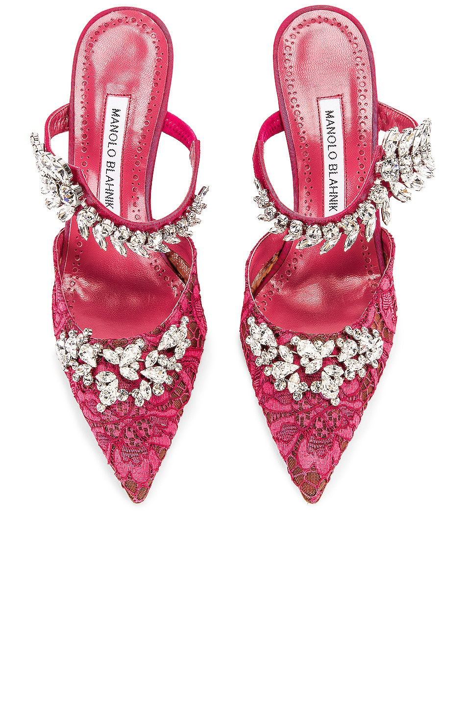 Image 1 of Manolo Blahnik Lurum 90 Mule in Raspberry