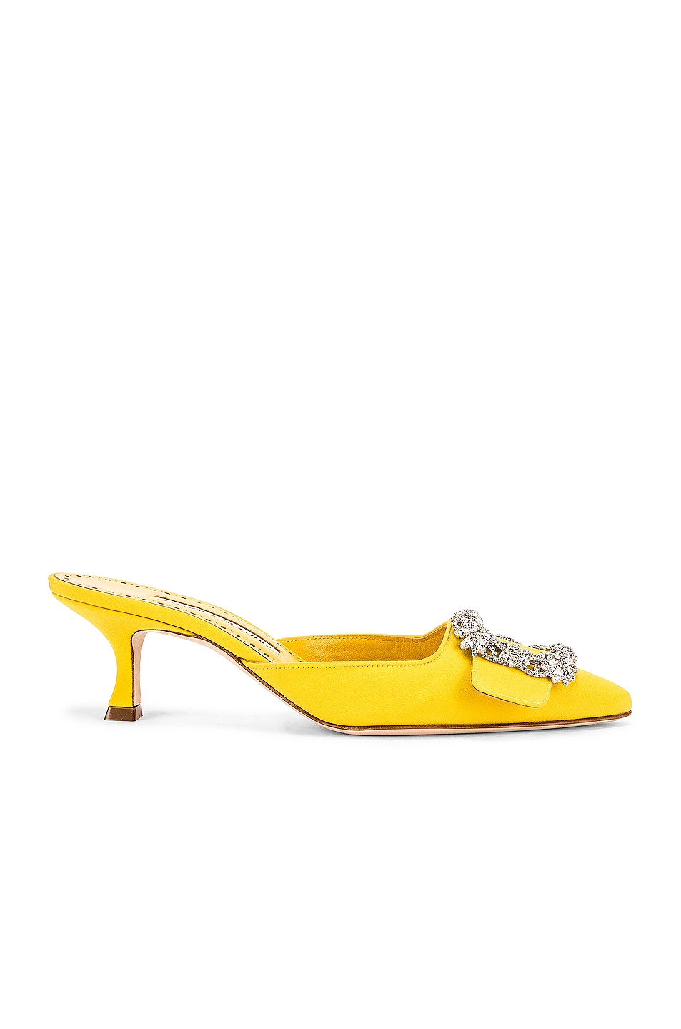 Image 1 of Manolo Blahnik Maysale 50 Jewel Mule in Yellow