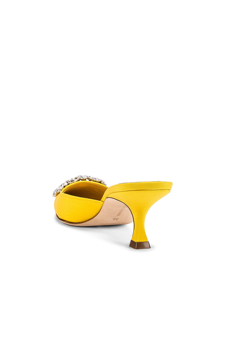 Image 3 of Manolo Blahnik Maysale 50 Jewel Mule in Yellow