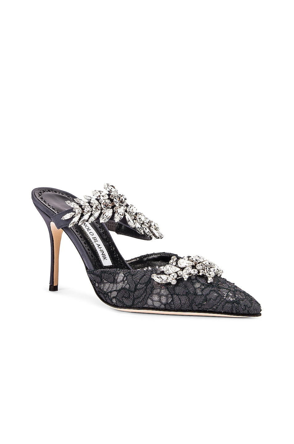 Image 3 of Manolo Blahnik Lurum 90 Mule in Blue Grey