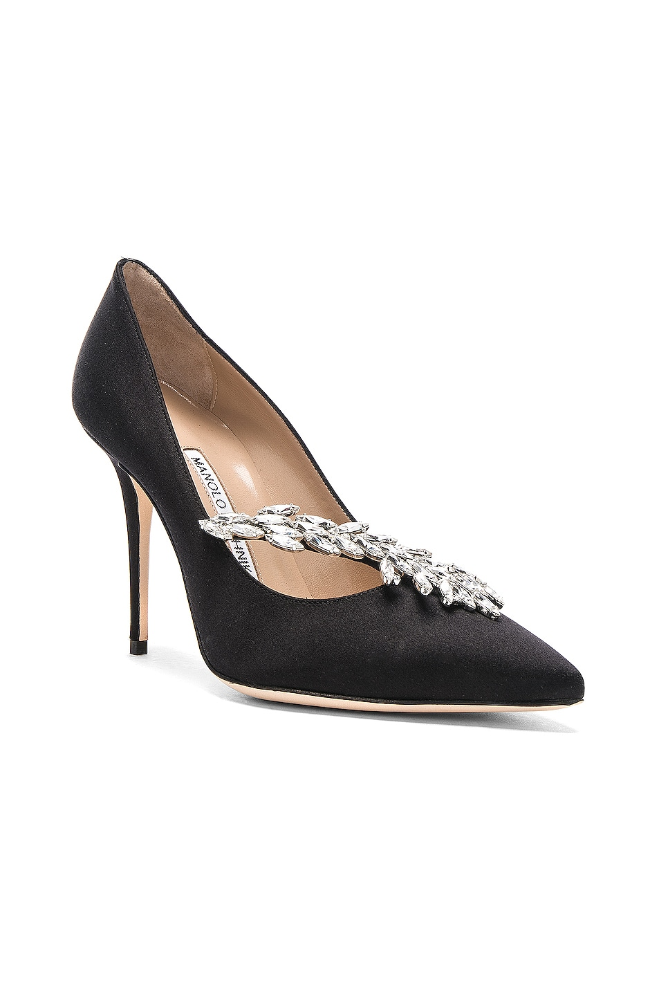 Image 1 of Manolo Blahnik Satin Nadira Heels in Black