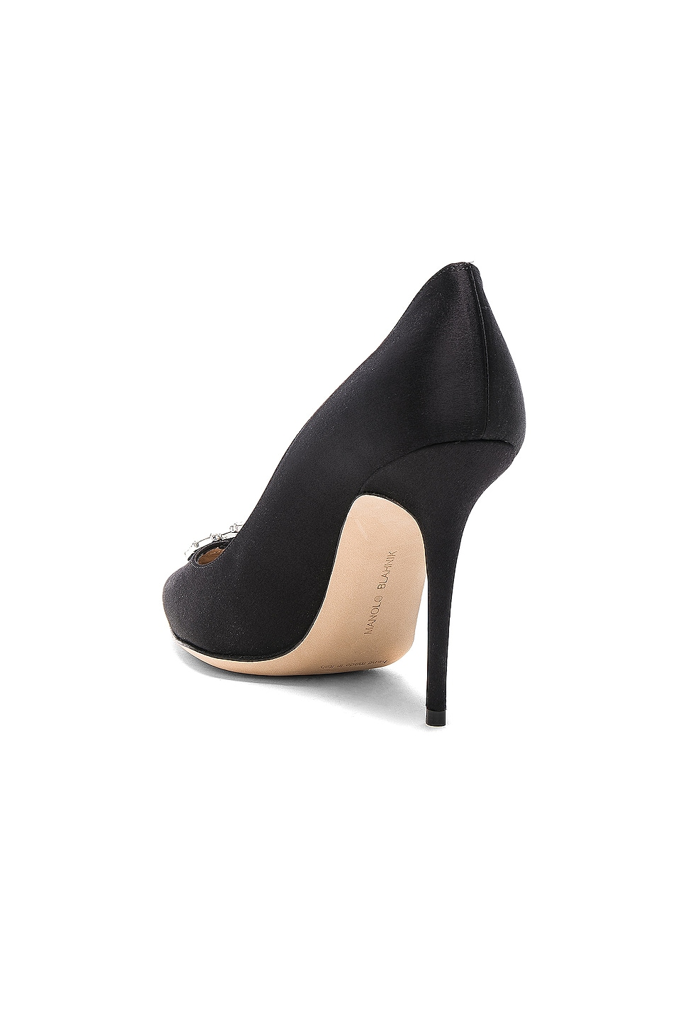 Image 3 of Manolo Blahnik Satin Nadira Heels in Black