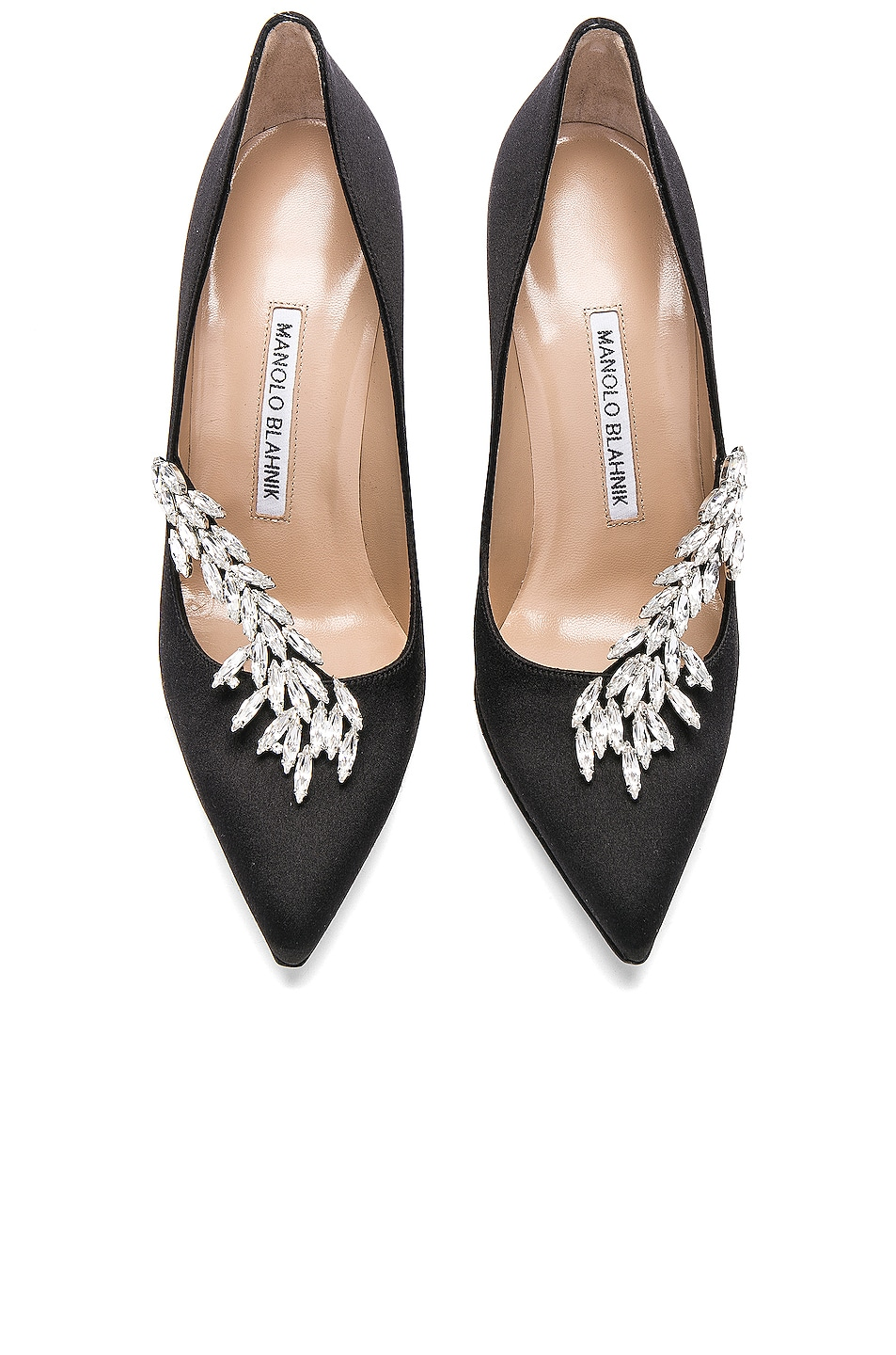 Image 4 of Manolo Blahnik Satin Nadira Heels in Black