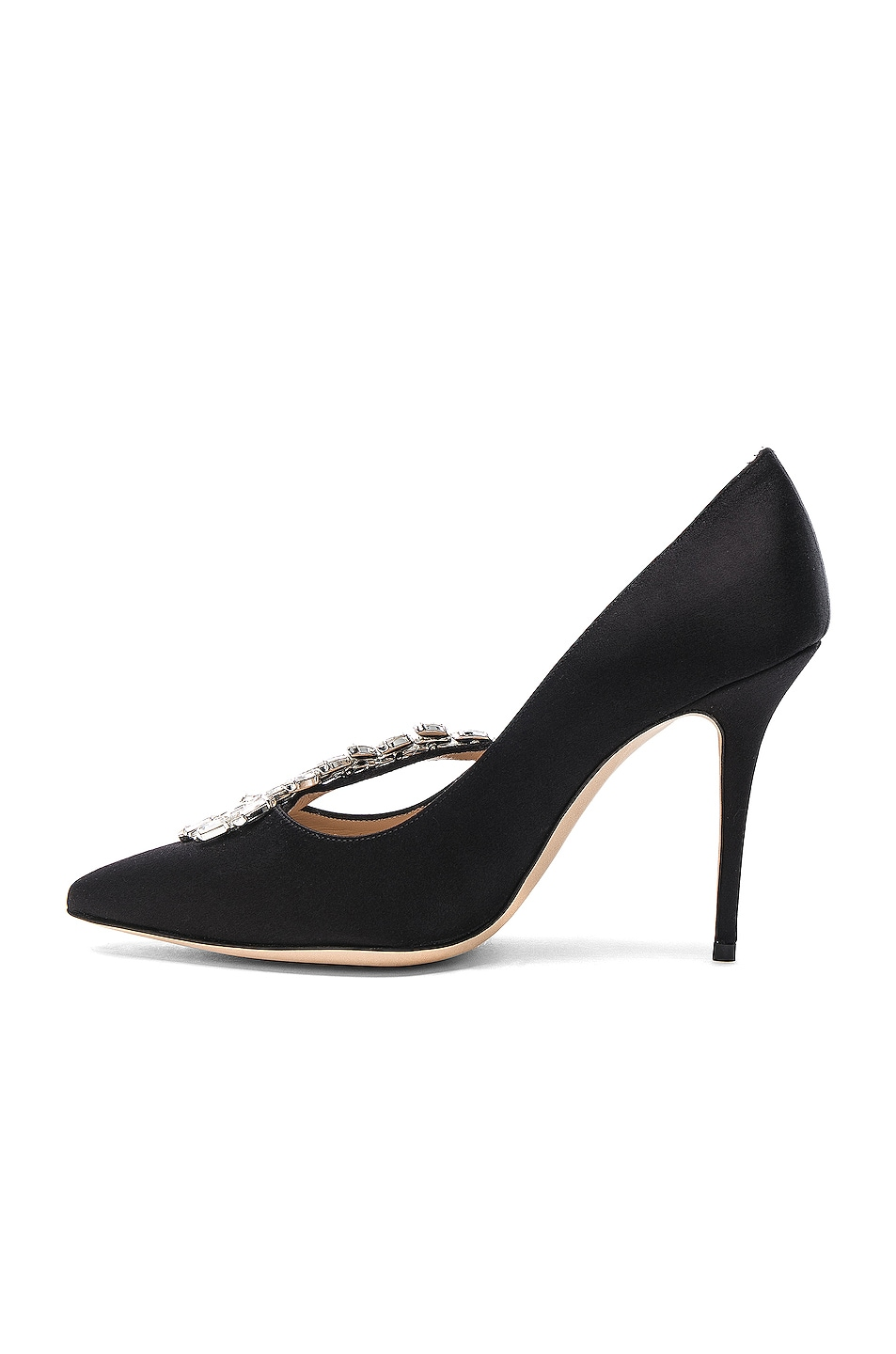 Image 5 of Manolo Blahnik Satin Nadira Heels in Black